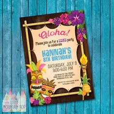 Hawaiian Party Invitation Template New 14 Luau Invitation Designs & Templates Psd Ai Hawaiian Party Invitation, Luau Birthday Invitations, Diy Invitations, Digital Invitations, Invitation Templates, Invitation Cards, Summer Birthday, Party Summer, Beach Party