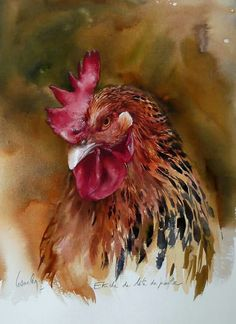 Rooster watercolor paintings are often packed with an array of vibrant colors. The feathers add beauty Watercolor Bird, Watercolor Animals, Watercolor Paintings, Watercolors, Pastel Paintings, Watercolor Artists, Rooster Painting, Rooster Art, Chicken Painting