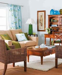 living rooms with lots of wood tones blue green and white google search casual living room lots