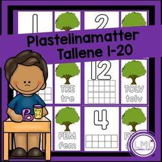 Her får du plastelinamatter til tallene 1-20. Skriv ut i A3 eller A4, laminer også er de klare til bruk! Her kan elevene forme tallene i plastelina, fylle tierrammen med riktig antall, forme tallordet og fylle treet med riktig antall epler. Tips: Elevene kan også skrive på de laminerte mattene med whiteboardpenn.