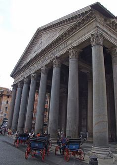 Pantheon and Carraiges - Rome, Italy