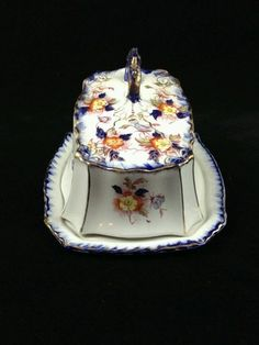 Rare Antique T Rathbone And Co English Flow Blue Cheese Dish 1890's