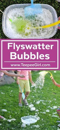 These Flyswatter Bubbles are so fun! Kids will love dipping in their flyswatters and then swinging their flyswatter to create big, fun bubbles! This activity keeps kids busy for hours all summer long! Get the bubble recipe and full instructions at www. Bubble Activities, Toddler Activities, Preschool Activities, Outdoor Activities, Bubble Games For Kids, Summer Activities For Toddlers, Water Games For Kids, Kid Games, Family Activities