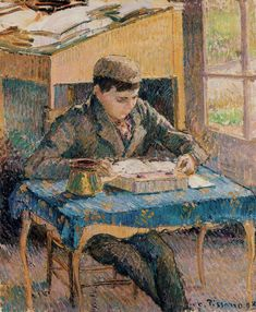 Portrait of Rodo Reading (1893).Camille Pissarro (Danish-French, Impressionism, 1830-1903). Oil on canvas. In 1871, Pissarro married Julie Vellay, with whom he would have seven children. Rodo was the fourth son. They lived outside of Paris, where Pissarro painted scenes of village life and the natural world. Like many of his contemporaries, he preferred to work in the open air rather than the studio.
