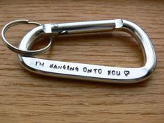 This personalized Aluminum Carabiner keychain can be stamped with a message of your choice, up to 24 characters. Its a great gift for