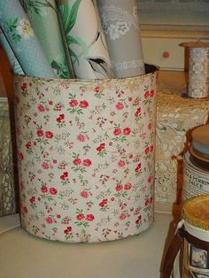 Just listed on etsy  Vintage Wallpaper Covered Trash Can Waste by SimplyCottageChic, $40.00