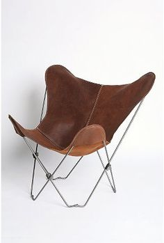urban outfitters chair: leather butterfly chair.