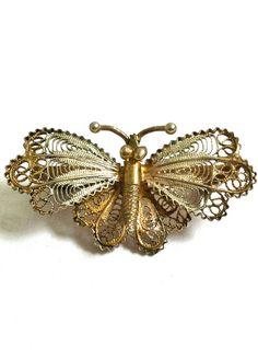vintage filigree butterfly brooch