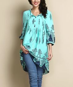 Look what I found on #zulily! Turquoise Damask Tie-Front Chiffon Hi-Low Tunic by Reborn Collection #zulilyfinds