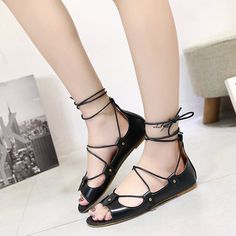 Flats, Sandals, Lace Up, Shoes, Fashion, Zapatos, Loafers & Slip Ons, Moda, Shoes Sandals