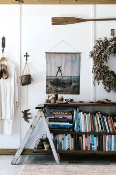 Country home bookshelf made from repurposed items and timber | Photography: Marnie Hawson Interior Design Awards, Modern Home Interior Design, Beautiful Interior Design, Interior Ideas, Interior Styling, Bright Homes, Shed Homes, Building A New Home, Decoration