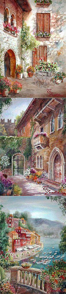 Старый дворик...Потрясающие картины написанные акварелью от художника Rita Zaudke.