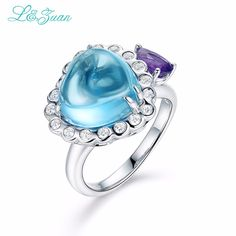 l&zuan 925 sterling silver Natural 7.24ct Topaz Blue Stone Prong Setting Ring Jewelry for  Gift Black Friday #Affiliate