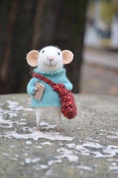 Mouse with bag and book - Needle Felted Ornament - Felting Dreams by Johana Molina - READY TO SHIP via Etsy