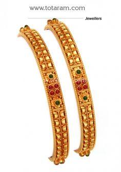 Gold Bangles (Temple Jewellery) - Set of 2 Pair): Totaram Jewelers: Buy Indian Gold jewelry & Diamond jewelry Gold Bangles For Women, Gold Bangles Design, Gold Jhumka Earrings, Gold Set, Gold Jewelry, Diamond Jewellery, Fashion Jewelry, Temple Jewellery, Kerala