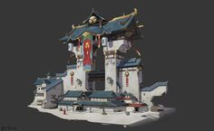 ArtStation - Oriental Old City, GuoXiang Qin Environment Concept Art, Environment Design, Oriental, Chinese Buildings, Asian Architecture, Background Drawing, Building Concept, Prop Design, Fantasy Setting