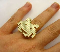 The Space Invaders Pixel Ring is Perfect for Geeky Couples trendhunter.com