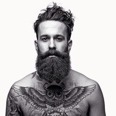 very full thick dark beard and big mustache beards bearded man men mens' style bushy tattoos tattooed chest tattoo owl owls hairy handsome #beardsforever