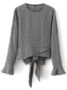 Flared Cuffs Gingham Check Blouse - WHITE/BLACK M