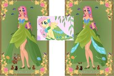 Fluttershy in her Grand Galloping Gala Dress. It was made in a Princess Doll Maker. Then I did all the extra stuff in Photoshop, by either drawing them or cutting them from a picture of Fluttershy....