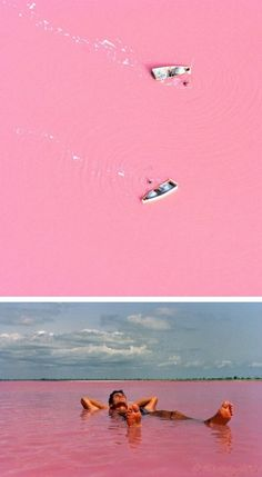 Lake Retba or Lac Rose in Senegal, Africa.  Experts say that the lake gives off its pink hue due to a harmless halophilic bacteria found in the water called Dunaliella salina algae. The color is particularly visible during the dry season. Lake Retba also has a high salt content, much like that of the Dead Sea, allowing people to float effortlessly in the massive pink water.