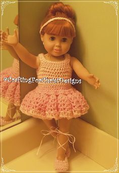 """Ravelry: B's 18"""" Doll Ballerina Dress pattern by Crafting ForChrist Designs...free ravelry download.....new pattern"""