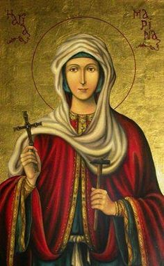 Simply Orthodox ☦ - Today, we commemorate St. Marina the Greatmartyr! Christian Mysticism, Christian Religions, Byzantine Icons, Byzantine Art, Greek Icons, Art Paintings For Sale, St Margaret, Blessed Mother Mary, Angel Pictures