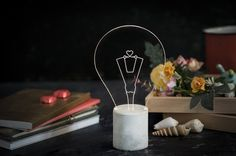 Exposed bulb Lamp, Heart shaped bulb with grey concrete base, Industrial concrete table lamp, Valentines Light Fixture
