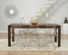 Verona 180cm Dark Solid Oak Extending Dining Table with Charles Eames Style DSR Transparent Eiffel Chairs