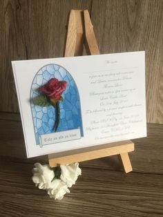 Beauty and the beast inspired wedding invitation with foam rose detail each Invitation Examples, Foam Roses, Beauty And The Beast, Color Schemes, Wedding Invitations, Wedding Ideas, Detail, Inspired, Design