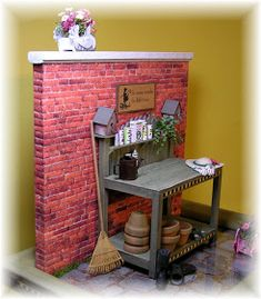 DYI DOLLHOUSE MINIATURES: THE POTTING BENCH - lots of tutorials and printies