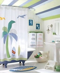 Love the whale to hold towels, great nautical lighting, and love the striped ceiling