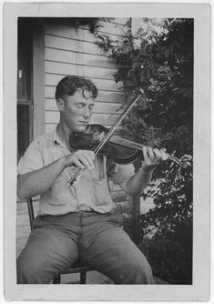 "vintage-musicians: "" Pic of Wayne Perry, Indian Bayou, LA, recorded by John Lomax for Library of Congress. Look how he holds his bow! Is he into it? (Source: LOC American Memory) """