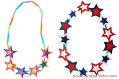 String paper stars and drinking straws to make an easy starry necklace for the 4th of July!