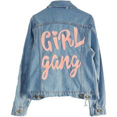 OFFICIAL GIRL GANG DENIM JACKET (€135) ❤ liked on Polyvore featuring outerwear, jackets, tops, coats & jackets, blue jean jacket, denim jacket, distressed jacket, jean jacket and blue jackets