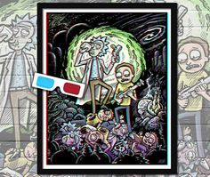 RICK and MORTY 3D Poster with red/blue glasses, signed limited edition 16x20 poster. ©Brad Albright, www.AlbrightIllustration.com