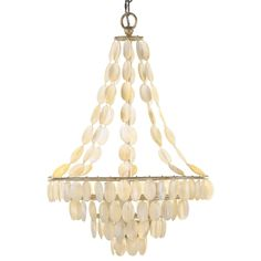 Pretty shape - Arteriors Southampton 3 Light Iron/ Shell Chandelier AR89293