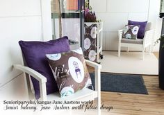 Asuntomessut Housing Fair 2015 in Helsinki Finland until August 9 featuring Sarica Timberg designed balcony with my Jane Austens world fabric! Surface Pattern Design, Jane Austen, Spoonflower, Fabric Design, My Design, Interior Decorating, August 9, Kids Rugs, Helsinki