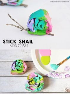 Colorful Stick Snail Craft For Preschoolers.