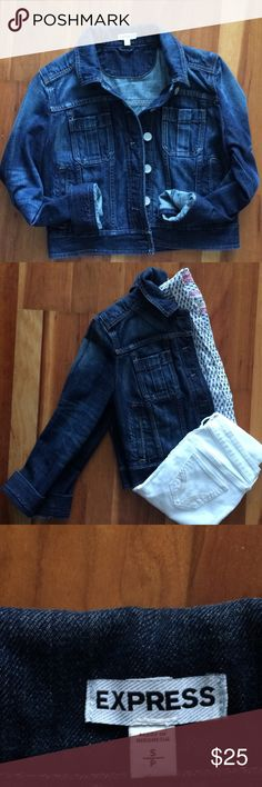 Express Denim Jacket, Size S Super cute denim jacket by Express.  NWOT. Never worn. Just the right denim wash to be paired with a dress and heels, or casual with white jeans or shorts. Roomy slit pockets and Express Jeans metal buttons. Express Jackets & Coats Jean Jackets