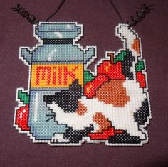 New Cat Milk Can Christmas Whimsy Ornament Handmade Finished Cross Stitch  3""