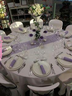 Purple and Gray Wedding Table Decor Wedding Hall Decorations, Quince Decorations, Quinceanera Decorations, Wedding Themes, Wedding Colors, Wedding Ideas, Purple Table Decorations, Decoration Table, Purple Wedding Tables