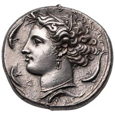 Ancient Greek Silver Decadrachm Coin by Euainetos of Syracuse, 400 Before Christ | 1stdibs.com
