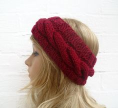 Hand Knit Headband Earwarmer Cabled Burgundy by Clickclackknits