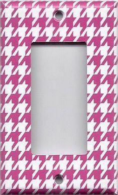 Hot Pink & White Houndstooth Hand Made Light Switch Plates & Outlet Covers