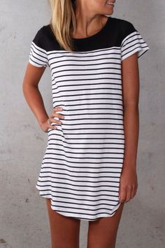black & white striped tshirt dress