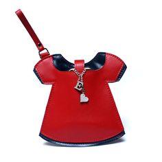 "Unique Design Natural Leather Little Personalized Bag/Purse - Iphone Case - Pouch - Wallet ""Mini Dresses Brandioshka"" valentine's gift brandia.pl"