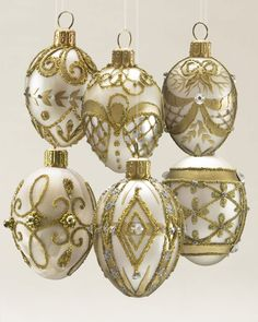 Egg Blown Glass Ornament Set in Gold & Champagne | Balsam Hill