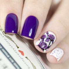 🌸🌺Purple floral pattern stamping plate nails, what's the color do you like? 😍😍Designed by @ludochka_t. more details to bornprettystore.com Born Pretty, Image Plate, Nail Plate, Plate Art, Art Template, Flower Plates, Stamping Plates, Nail Manicure, Nailart