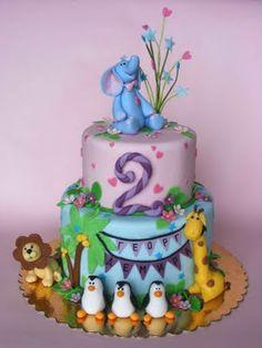 Animal cake by bubolinkata Baby Cakes, Girl Cakes, Cupcakes, Cupcake Cakes, Jungle Cake, Jungle Safari, Safari Cakes, Animal Cakes, Novelty Cakes